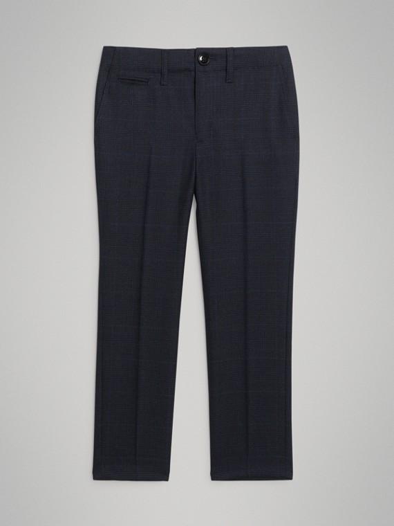 Calças de alfaiataria em lã xadrez Príncipe-de-Gales (Azul Marinho Intenso)