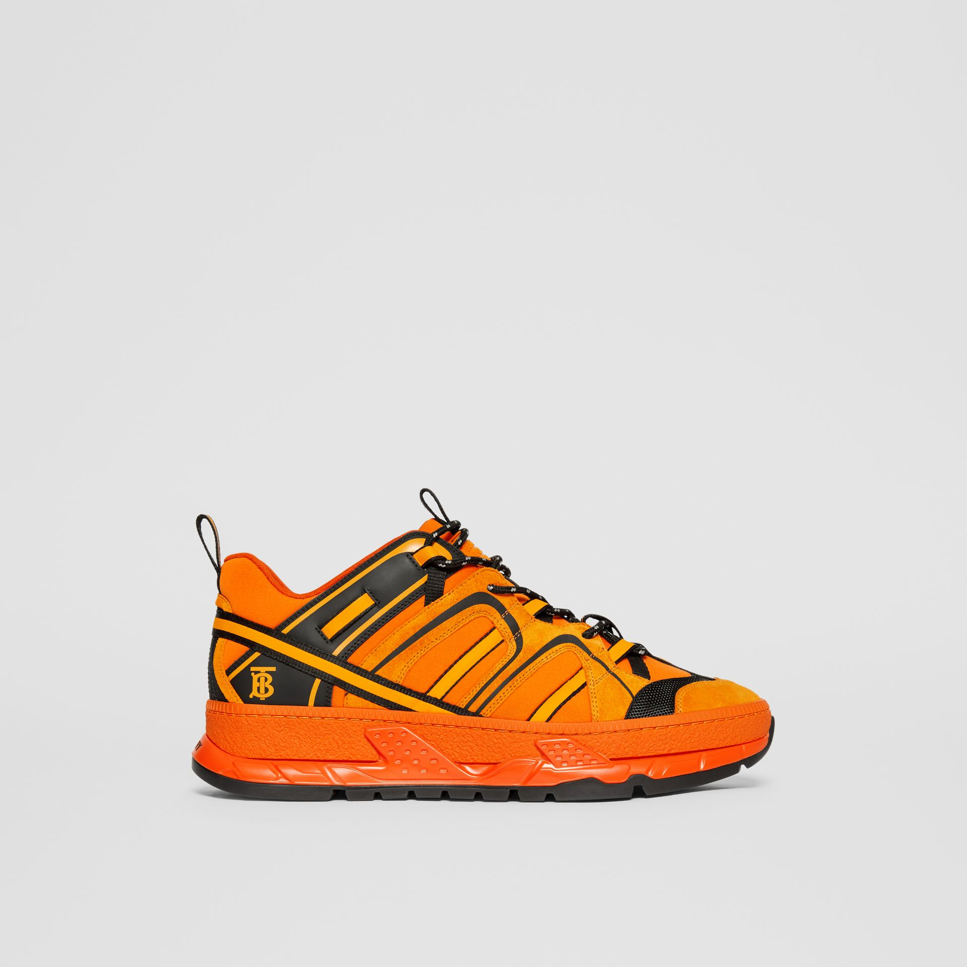 Nylon, Suede and Leather Union Sneakers in Bright Orange - Men | Burberry United Kingdom - gallery image 4