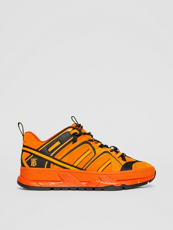 Nylon, Suede and Leather Union Sneakers in Bright Orange