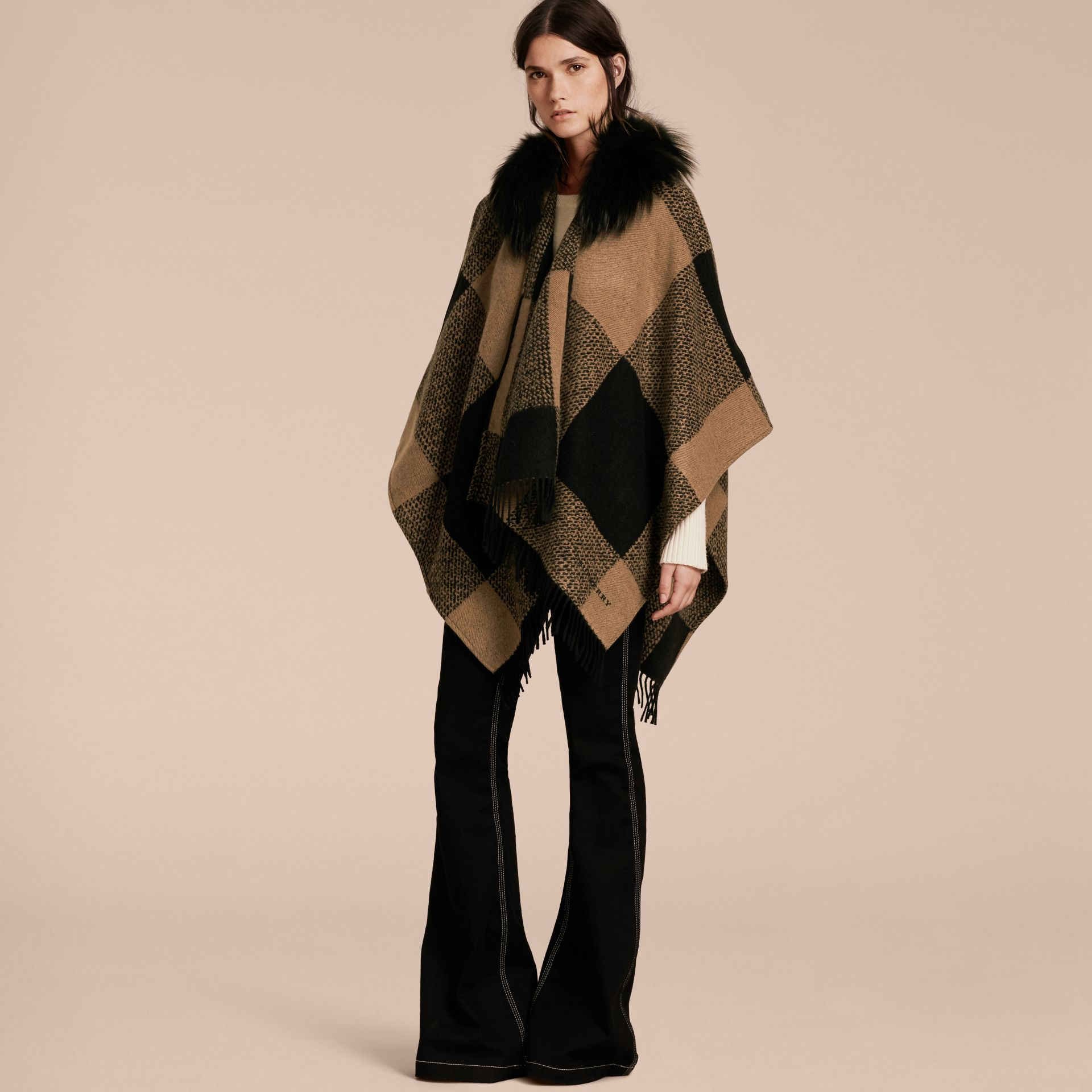 Camel Fur-trimmed Buffalo Check Wool Cashmere Poncho Camel - gallery image 7