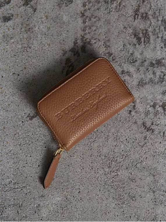 Textured Leather Ziparound Coin Case in Chestnut Brown