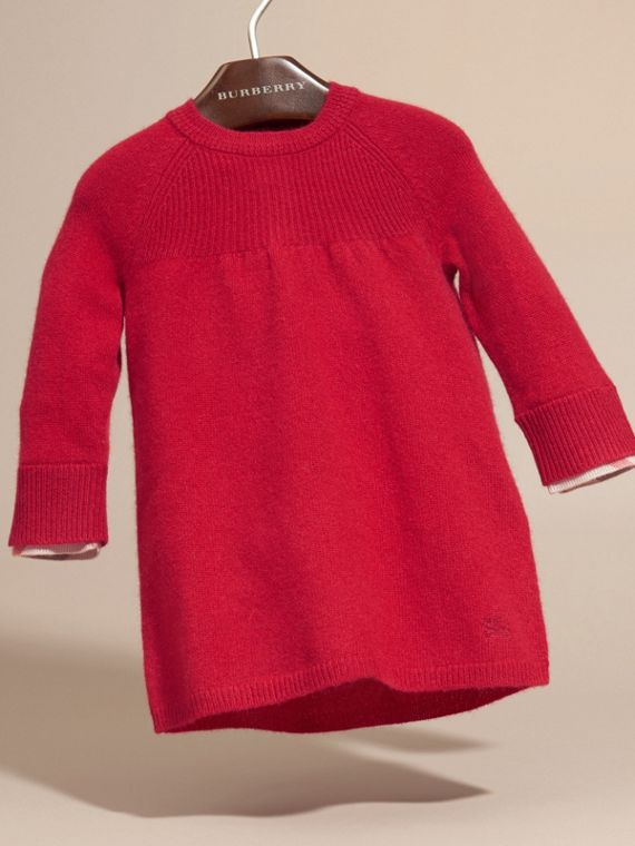 Check Cuff Knitted Cashmere Dress - cell image 2