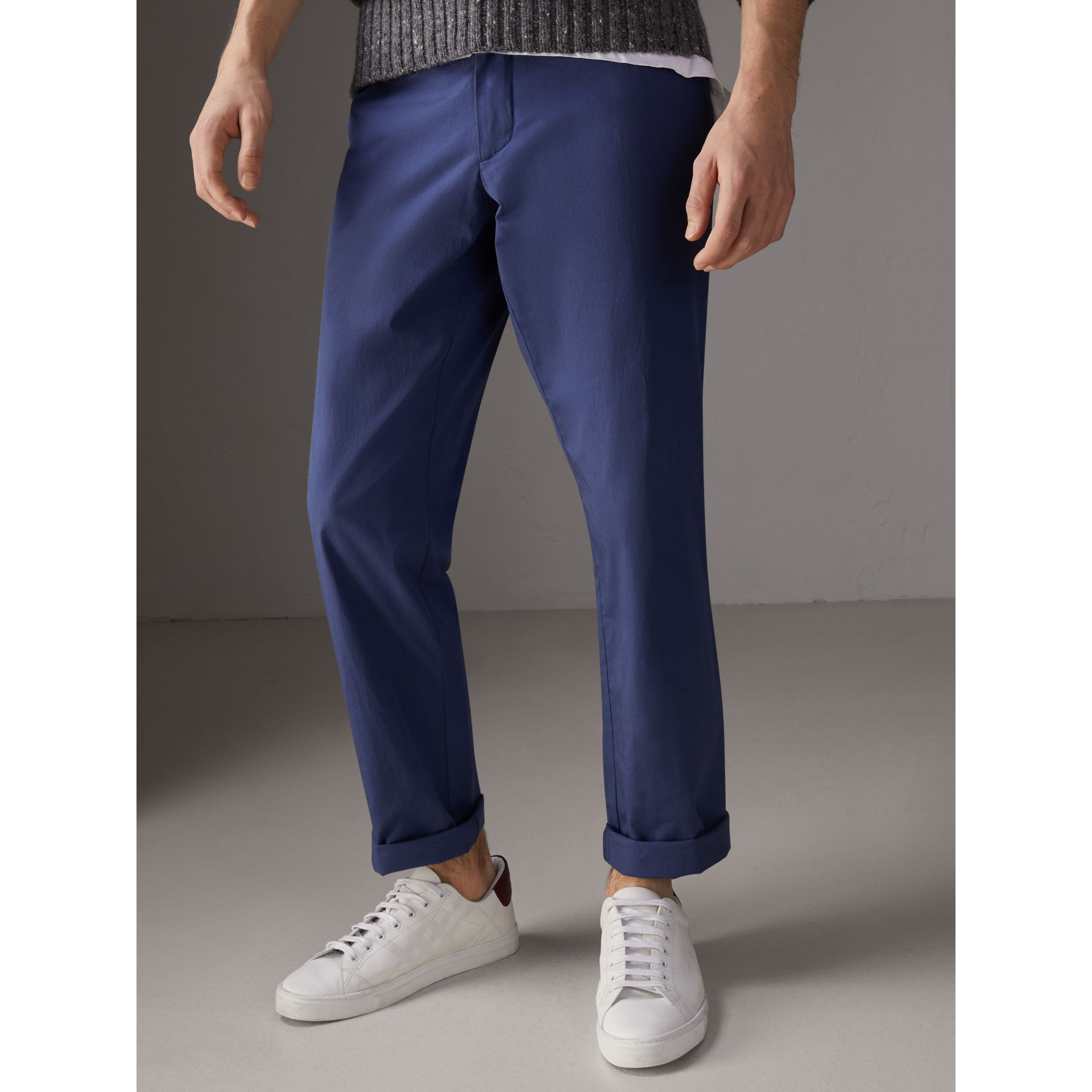 Cotton Twill Chinos in Steel Blue - Men | Burberry - gallery image 4