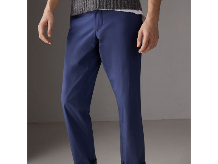 Cotton Twill Chinos in Steel Blue - Men | Burberry - cell image 4