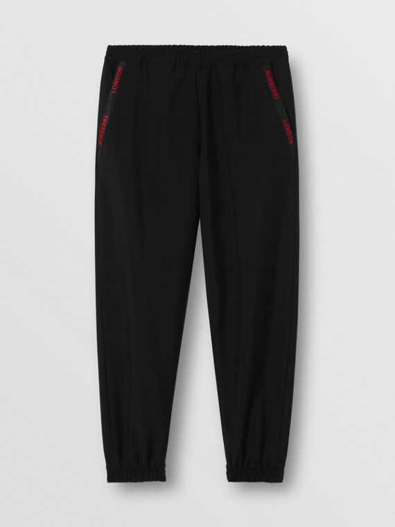 Logo Detail Wool Mohair Trackpants in Black
