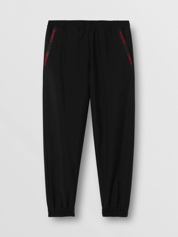 Pantalon de survêtement en laine et mohair avec logo (Noir)