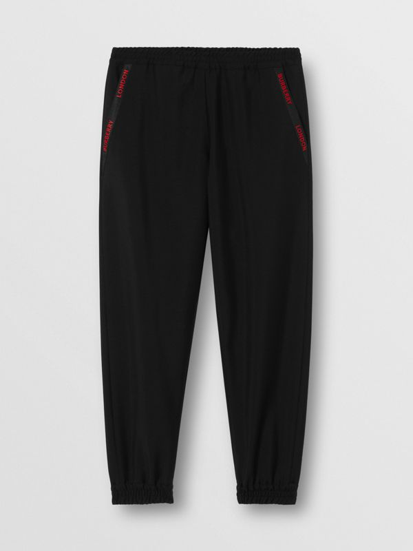 Logo Detail Wool Mohair Trackpants in Black - Men | Burberry United Kingdom - cell image 3