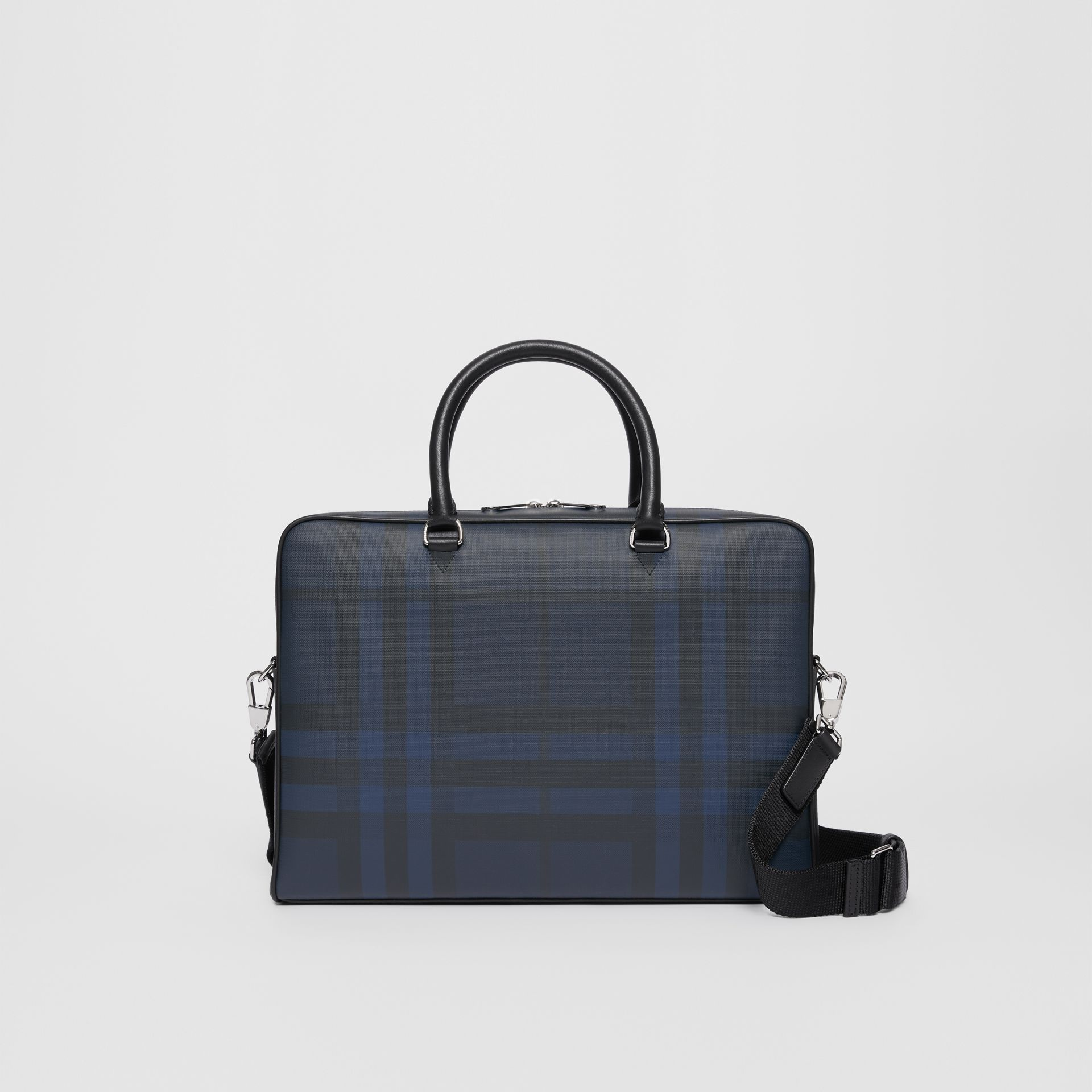 London Check and Leather Briefcase in Navy/black - Men | Burberry - gallery image 0