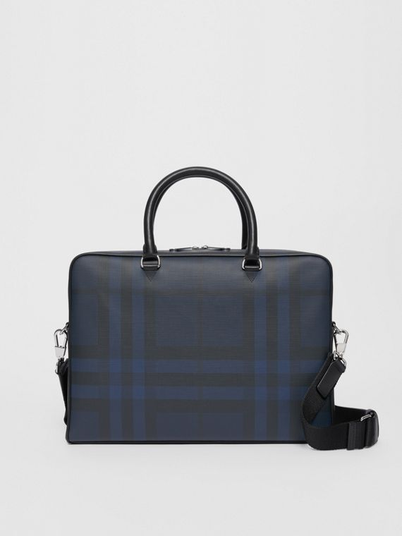 Borsa portadocumenti con pelle e motivo London check (Navy/nero)