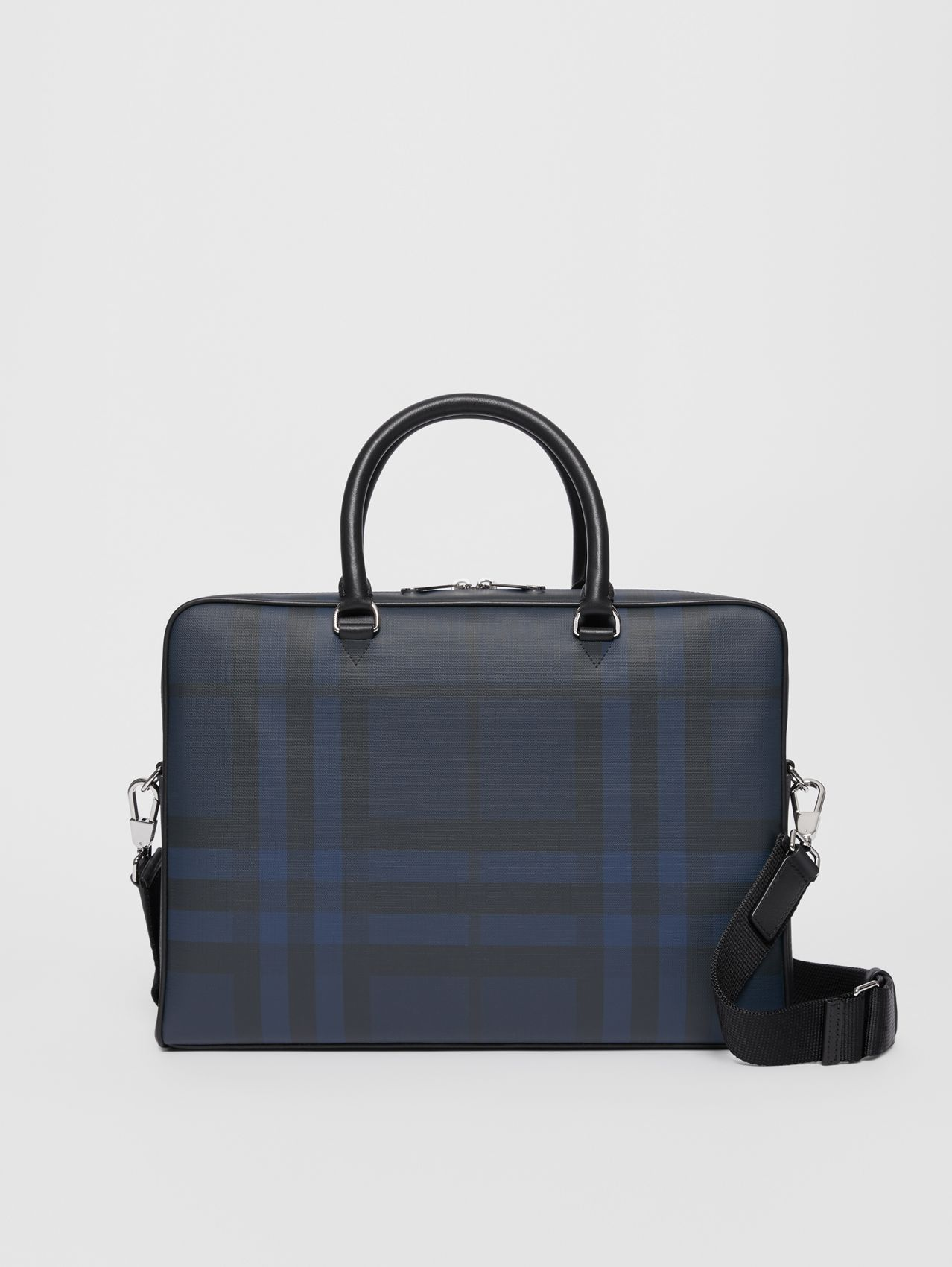 London Check and Leather Briefcase (Navy/black)