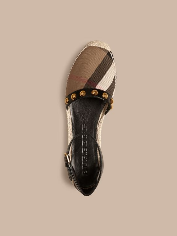 Black Studded Leather and House Check Espadrille Sandals Black - cell image 2