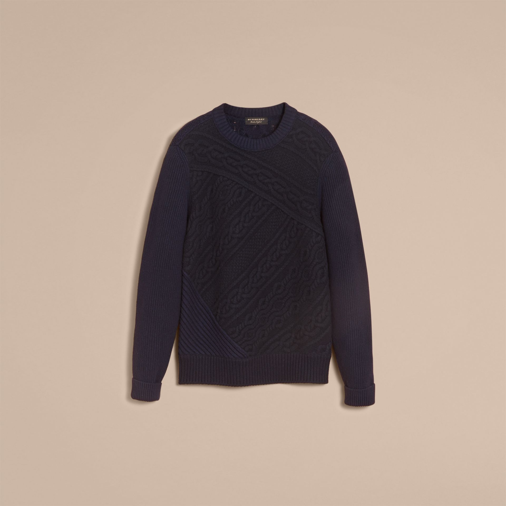 Cashmere Sweater with Cable Knit Detail in Navy - Men | Burberry - gallery image 3
