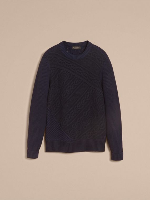 Cashmere Sweater with Cable Knit Detail in Navy - Men | Burberry - cell image 3