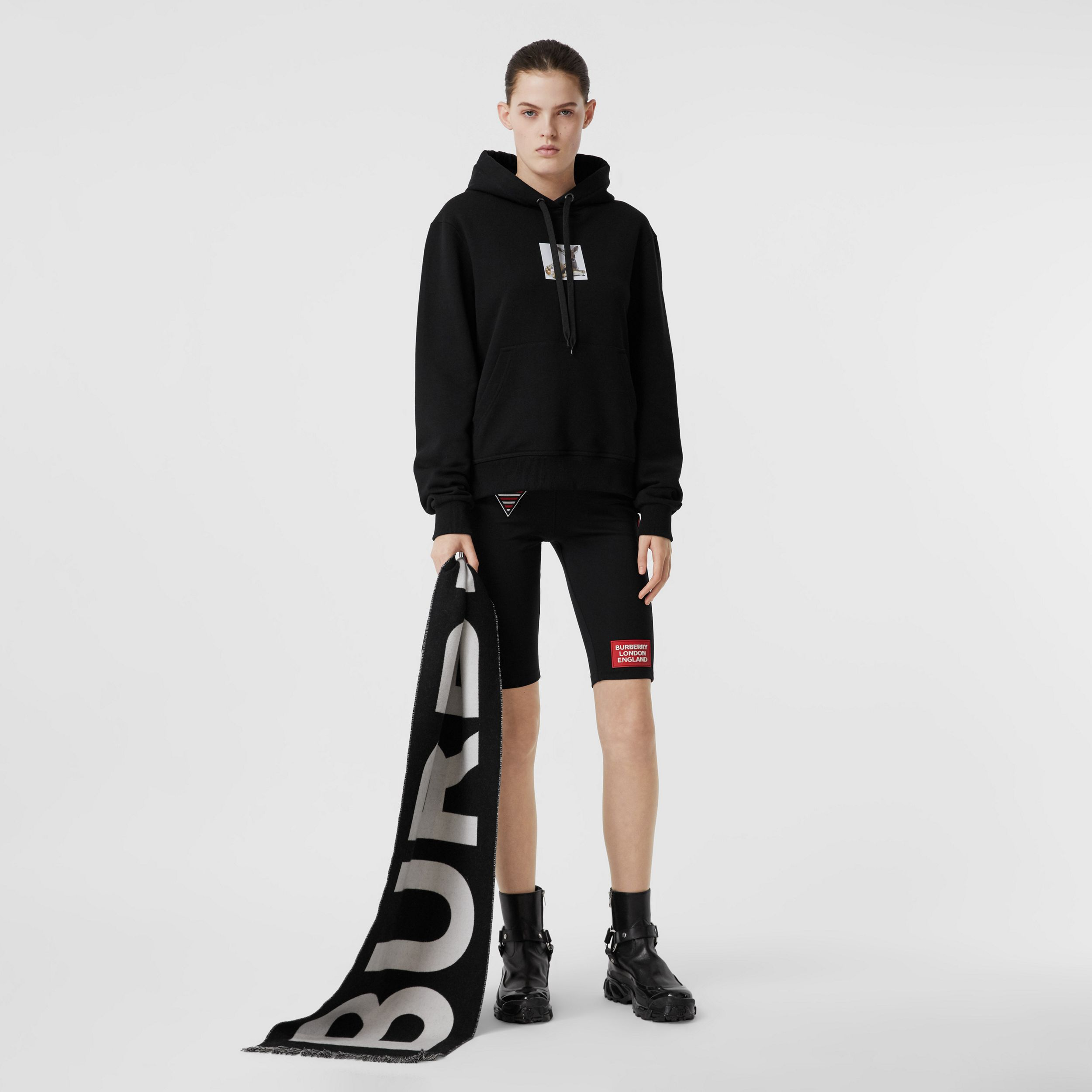 Deer Print Cotton Oversized Hoodie in Black - Women | Burberry Canada - 1
