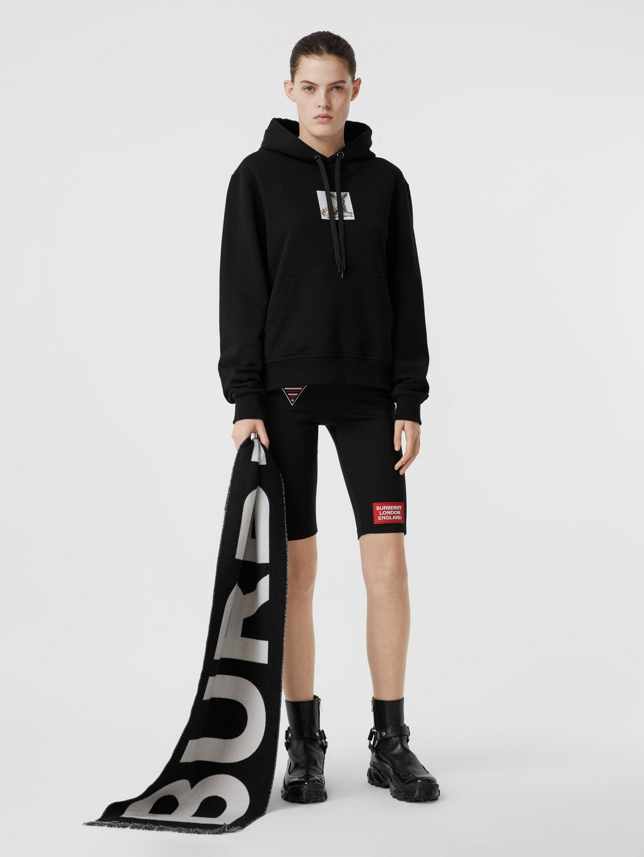 Deer Print Cotton Oversized Hoodie in Black