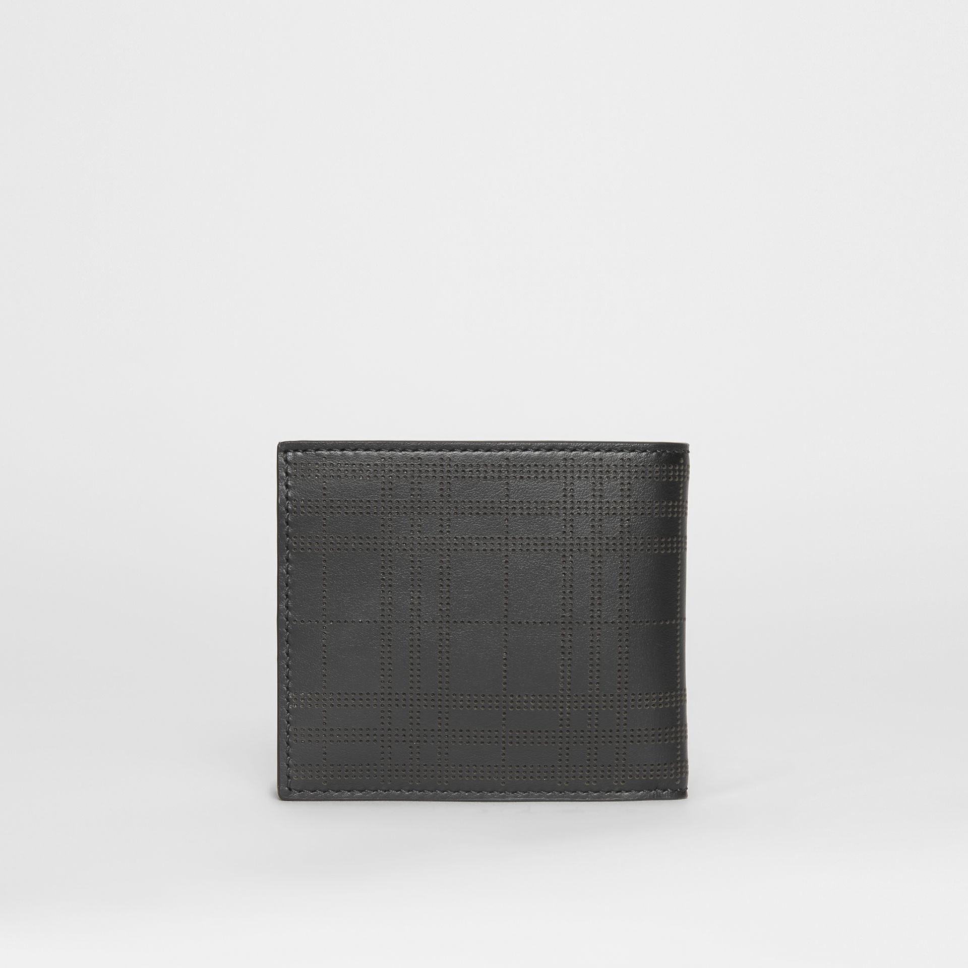 Perforated Check Leather International Bifold Wallet in Black - Men | Burberry Australia - gallery image 4