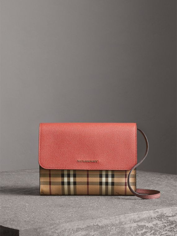 Haymarket Check and Leather Crossbody Bag in Cinnamon Red/multi