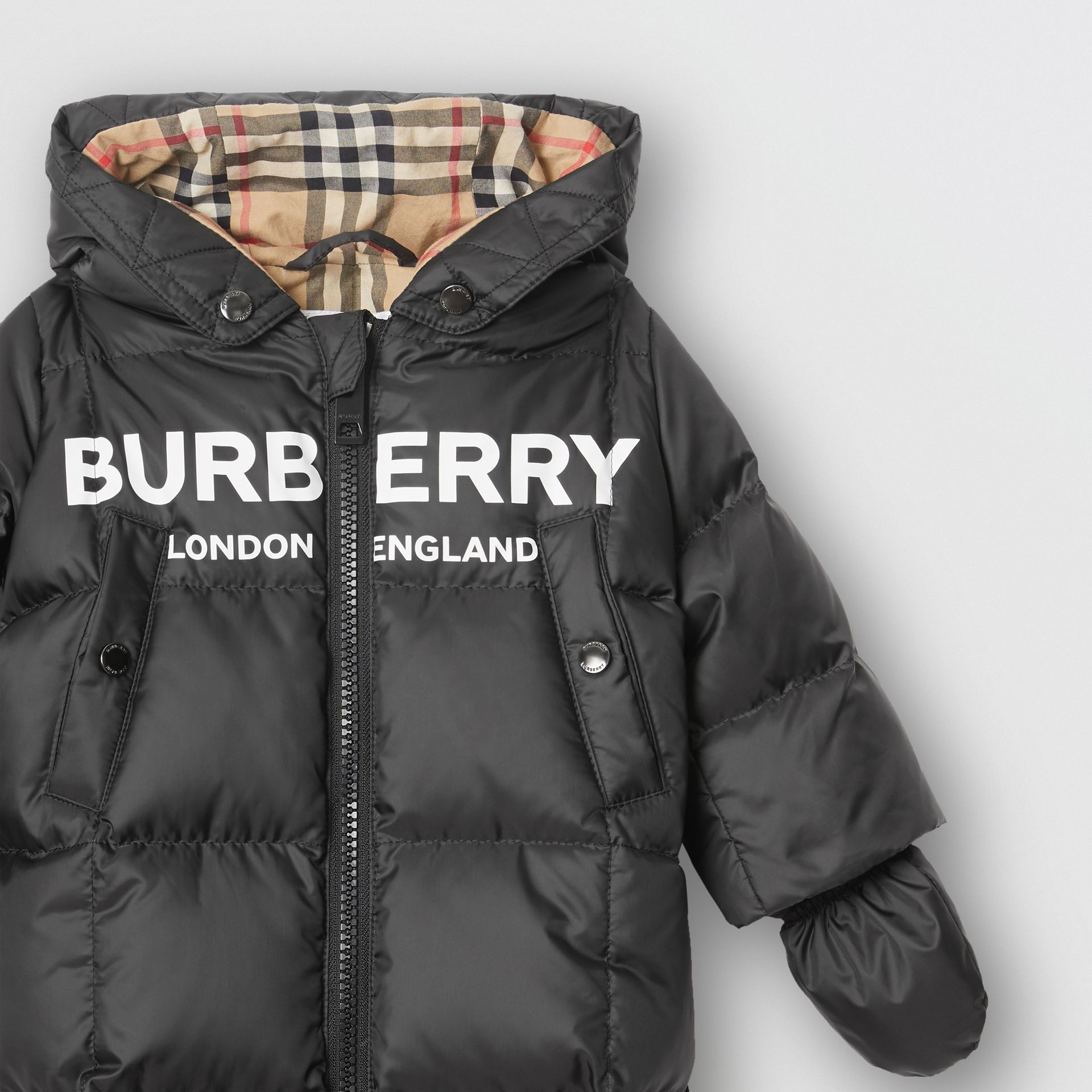 Logo Print Down-filled Puffer Suit in Black - Children | Burberry - gallery image 3