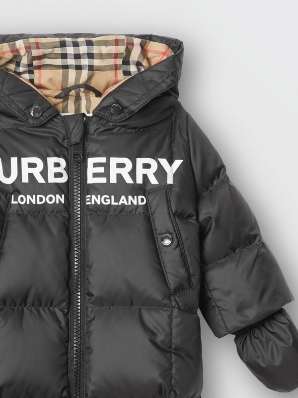 Logo Print Down-filled Puffer Suit in Black - Children | Burberry - cell image 3