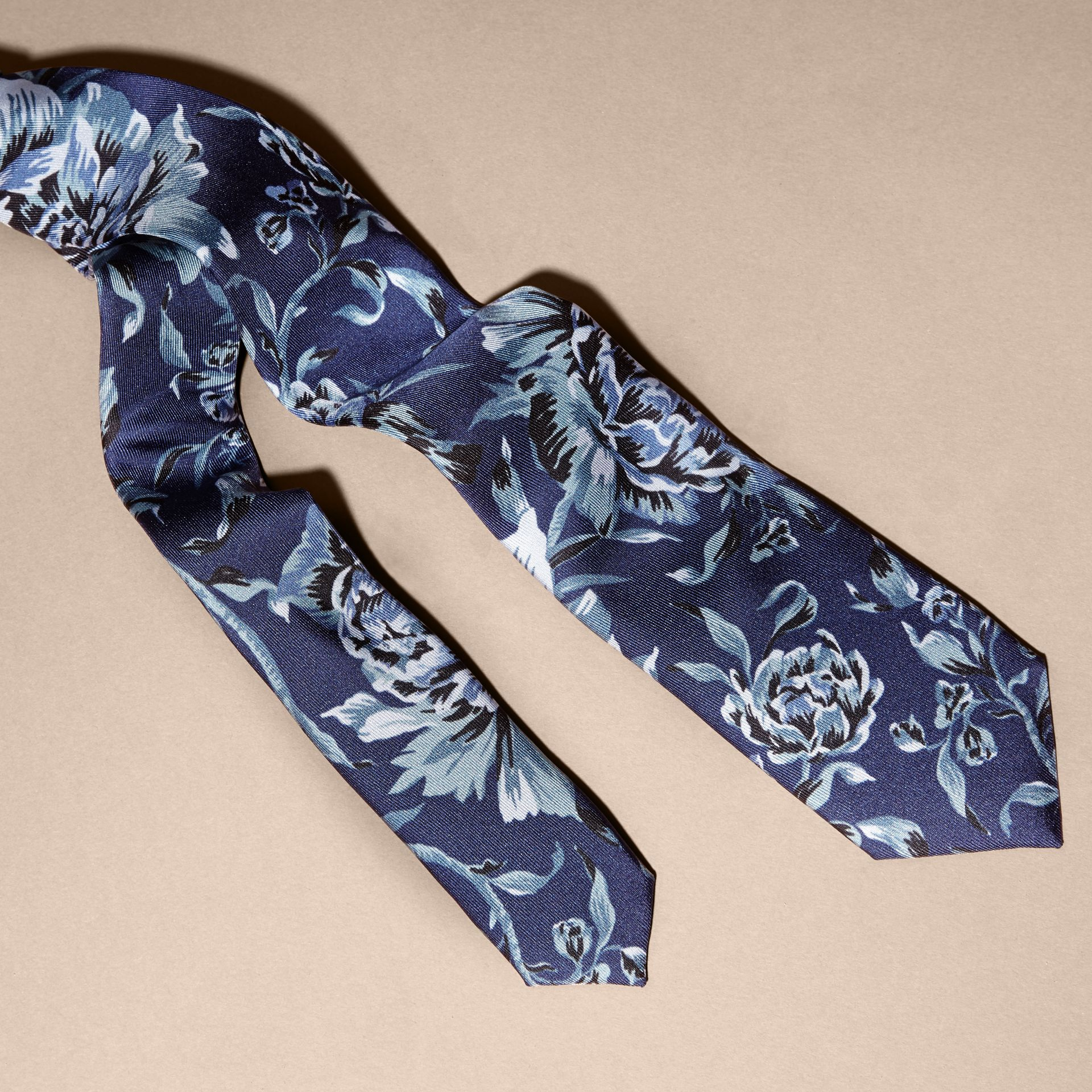 Ink Slim Cut Peony Rose Print Silk Tie Ink - gallery image 2