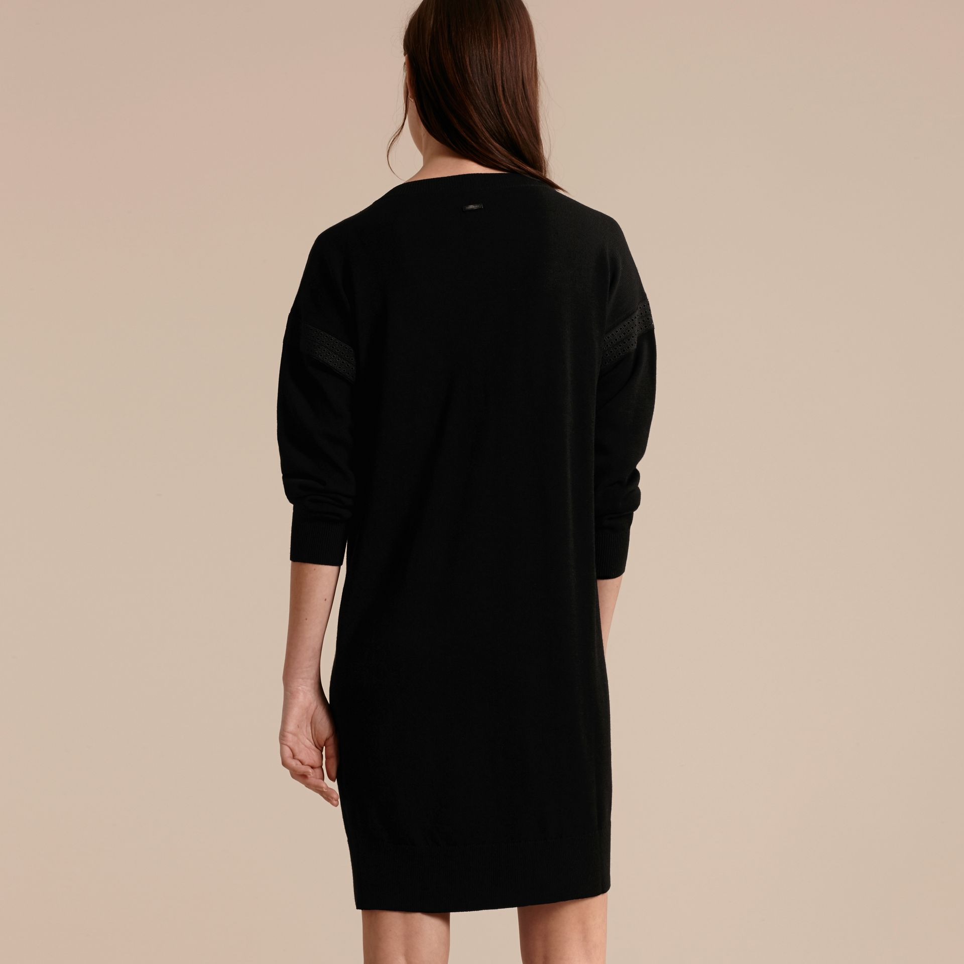 Black Lace-trimmed Merino Wool Dress - gallery image 3