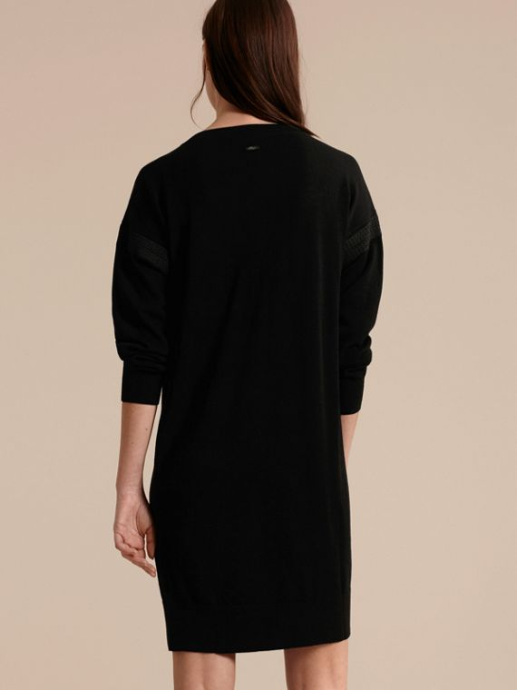 Black Lace-trimmed Merino Wool Dress - cell image 2