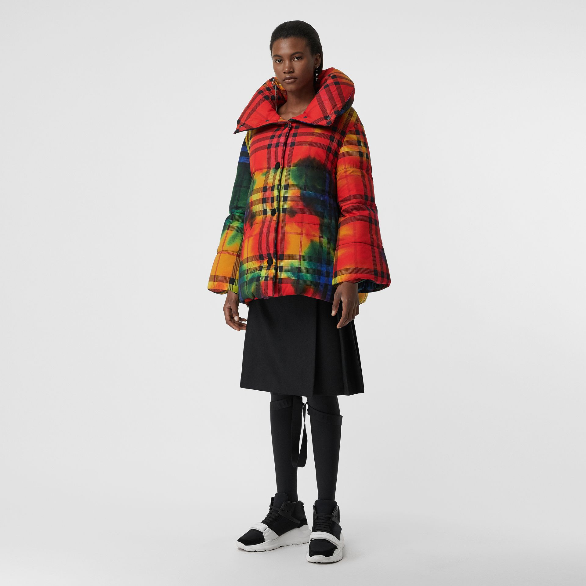 Tie-dye Vintage Check Down-filled Puffer Coat in Bright Red - Women | Burberry - gallery image 0