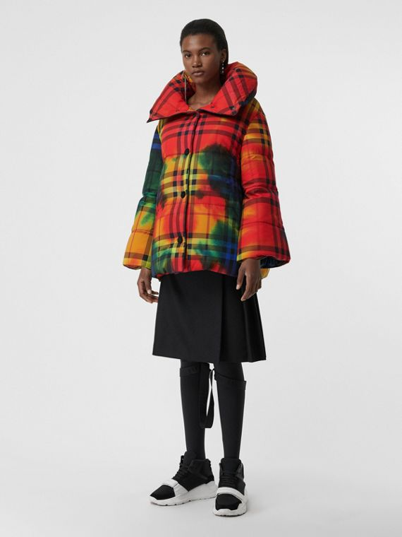 Tie-dye Vintage Check Down-filled Puffer Coat in Bright Red