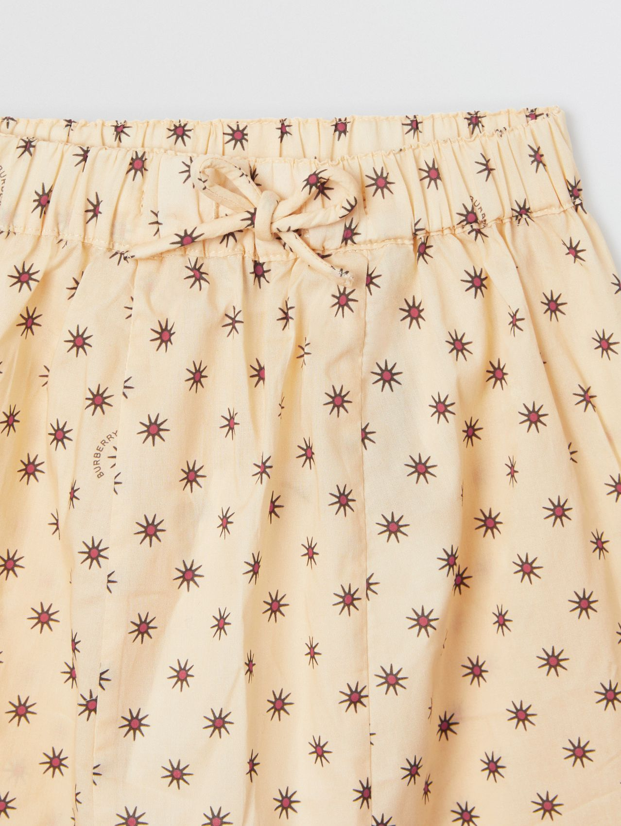 Star Print Cotton Drawcord Trousers in Military Red