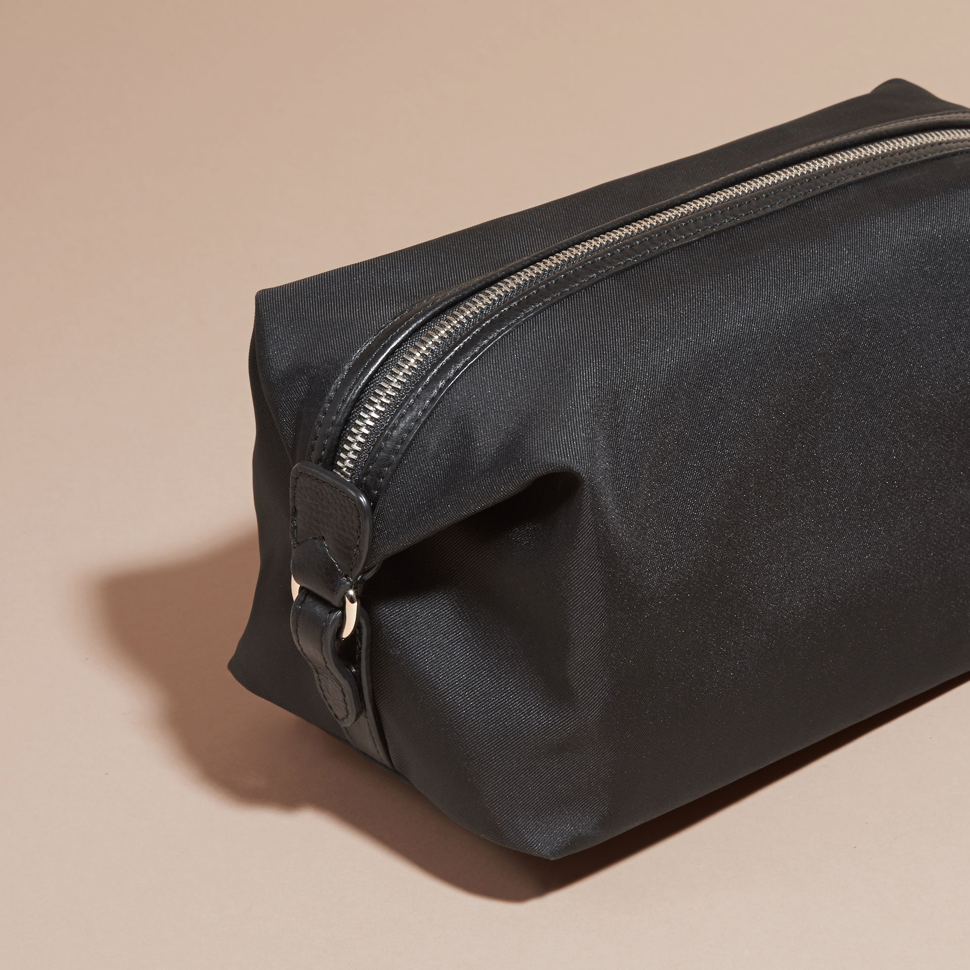 Black Leather Trim Washbag - gallery image 4