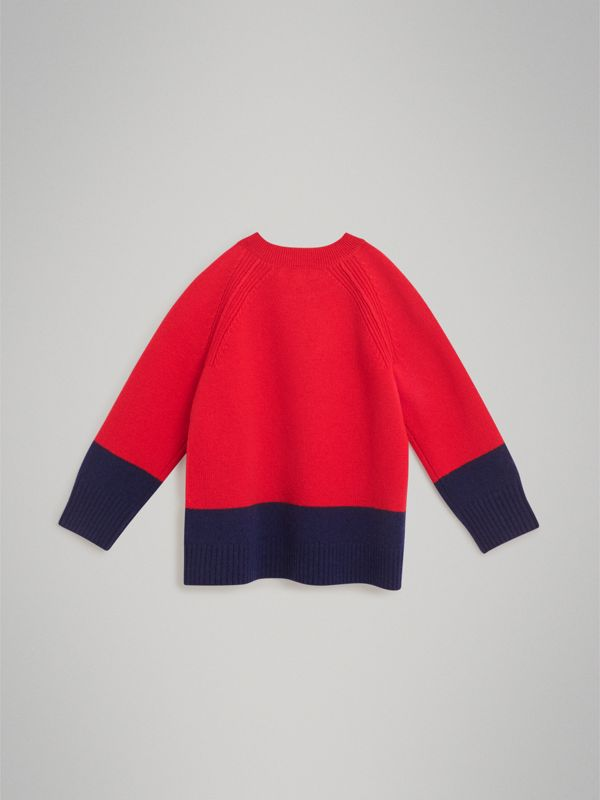 Logo Intarsia Cashmere Sweater in Bright Red | Burberry Australia - cell image 3