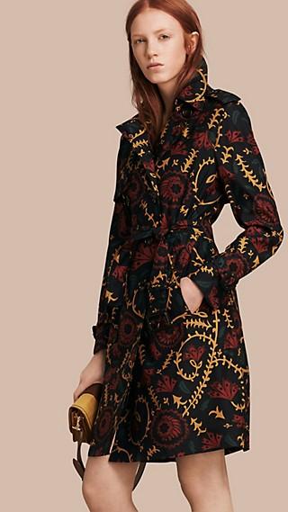 Trench-coat en soie et laine à imprimé floral