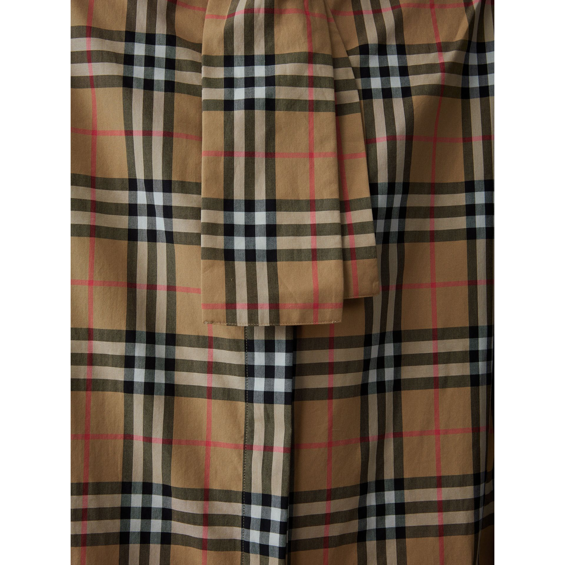 Vintage Check Cotton Tie-neck Riding Shirt in Antique Yellow - Women | Burberry - gallery image 6