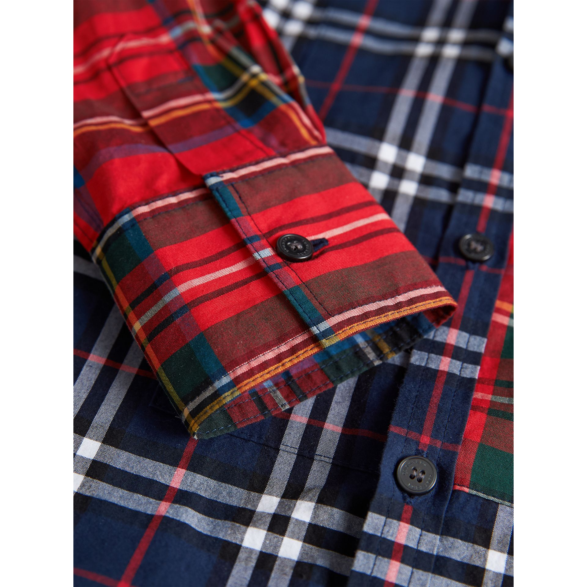 Panelled Tartan and Check Cotton Poplin Shirt in Navy - Boy | Burberry - gallery image 1