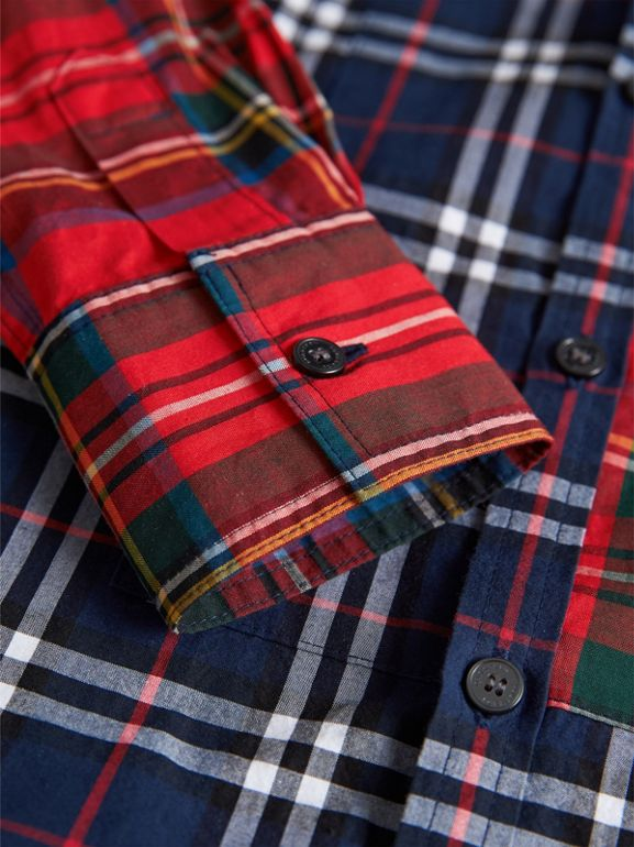Panelled Tartan and Check Cotton Poplin Shirt in Navy | Burberry - cell image 1