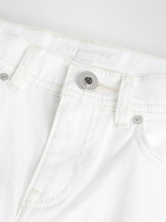 Relaxed Fit Stretch Denim Shorts in White | Burberry - cell image 1