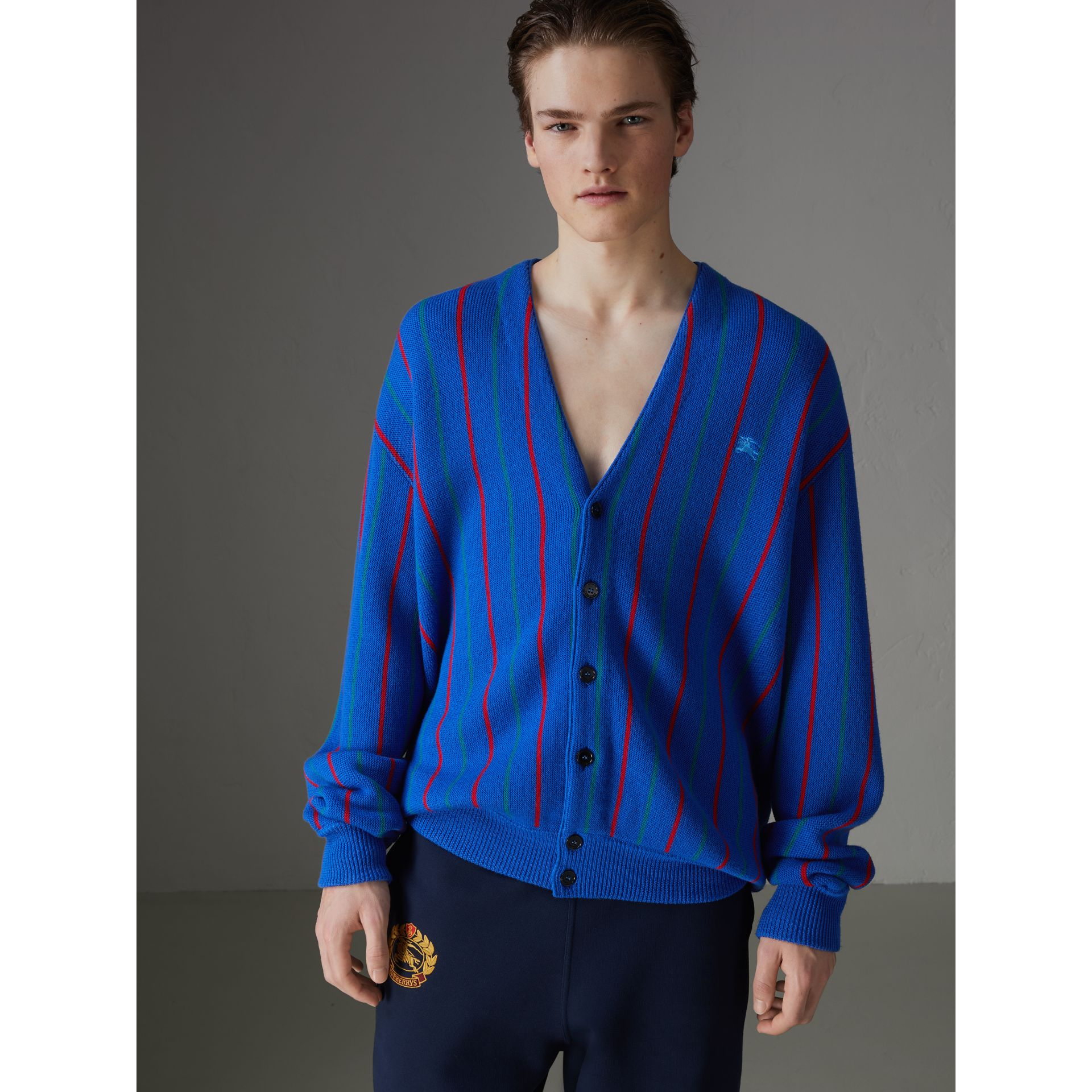 Reissued Striped Wool Cardigan in Royal Blue - Men | Burberry United States - gallery image 4