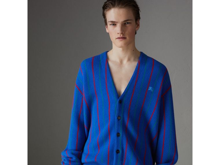 Reissued Striped Wool Cardigan in Royal Blue - Men | Burberry United States - cell image 4