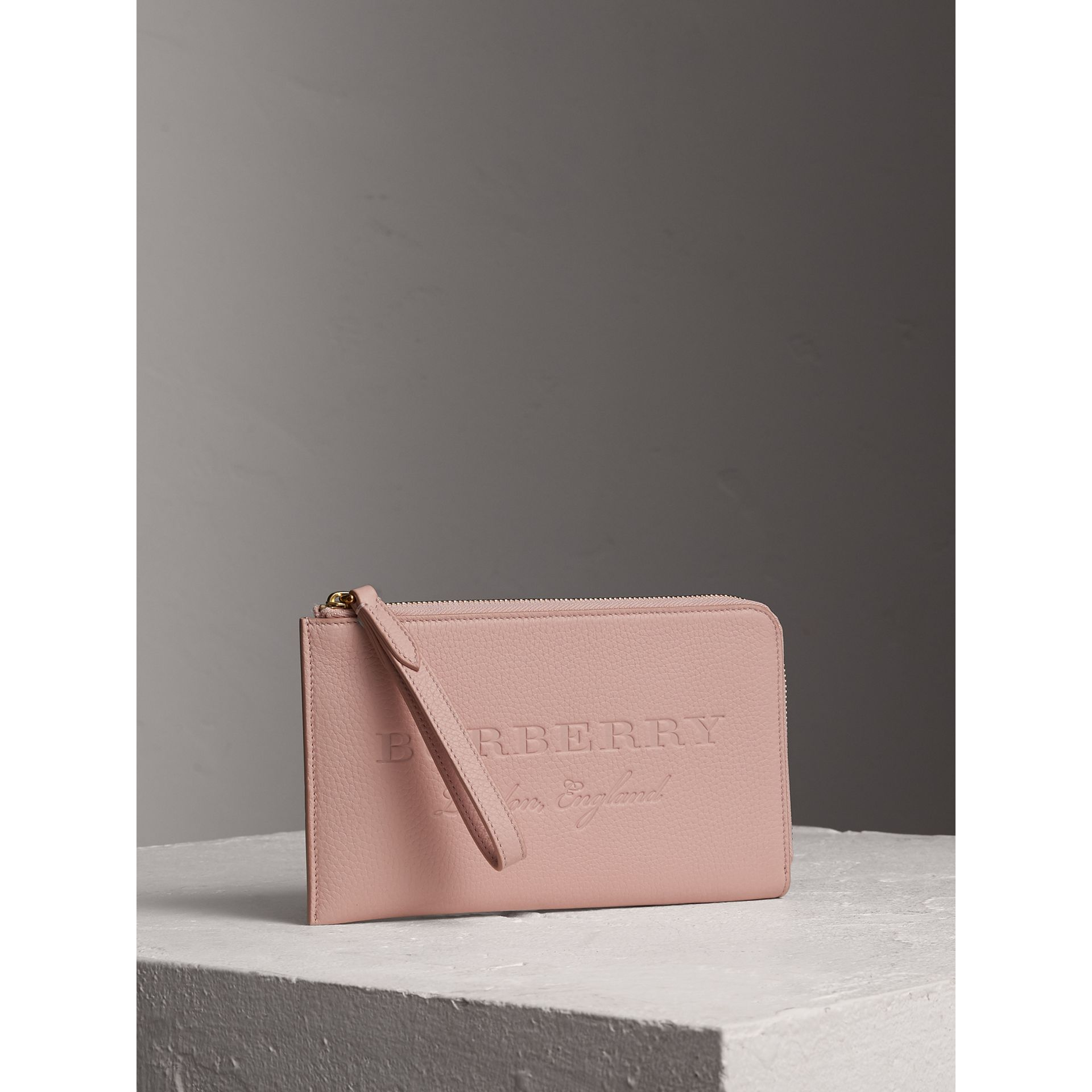 Burberry Embossed Leather Zip Around Wallet: Embossed Leather Travel Wallet In Pale Ash Rose