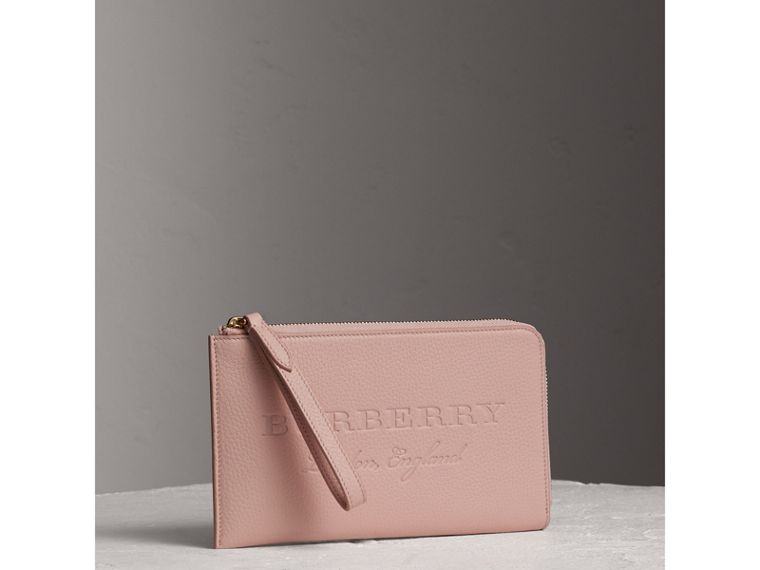 Embossed Leather Travel Wallet in Pale Ash Rose | Burberry - cell image 4