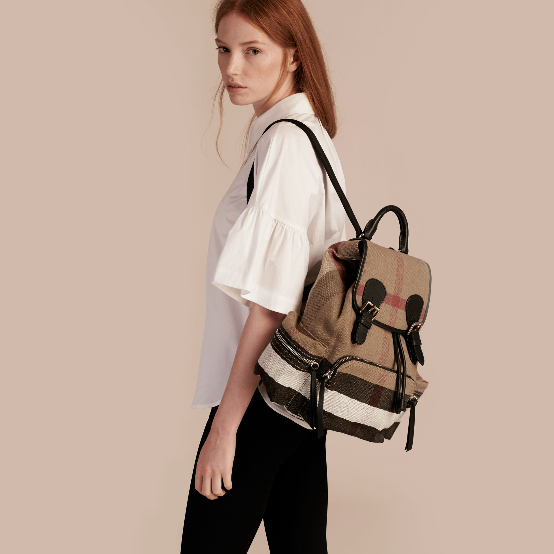 The Medium Rucksack in Canvas Check and Leather in Black - Women | Burberry - gallery image 3