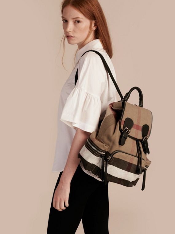 Black The Medium Rucksack in Canvas Check and Leather - cell image 2
