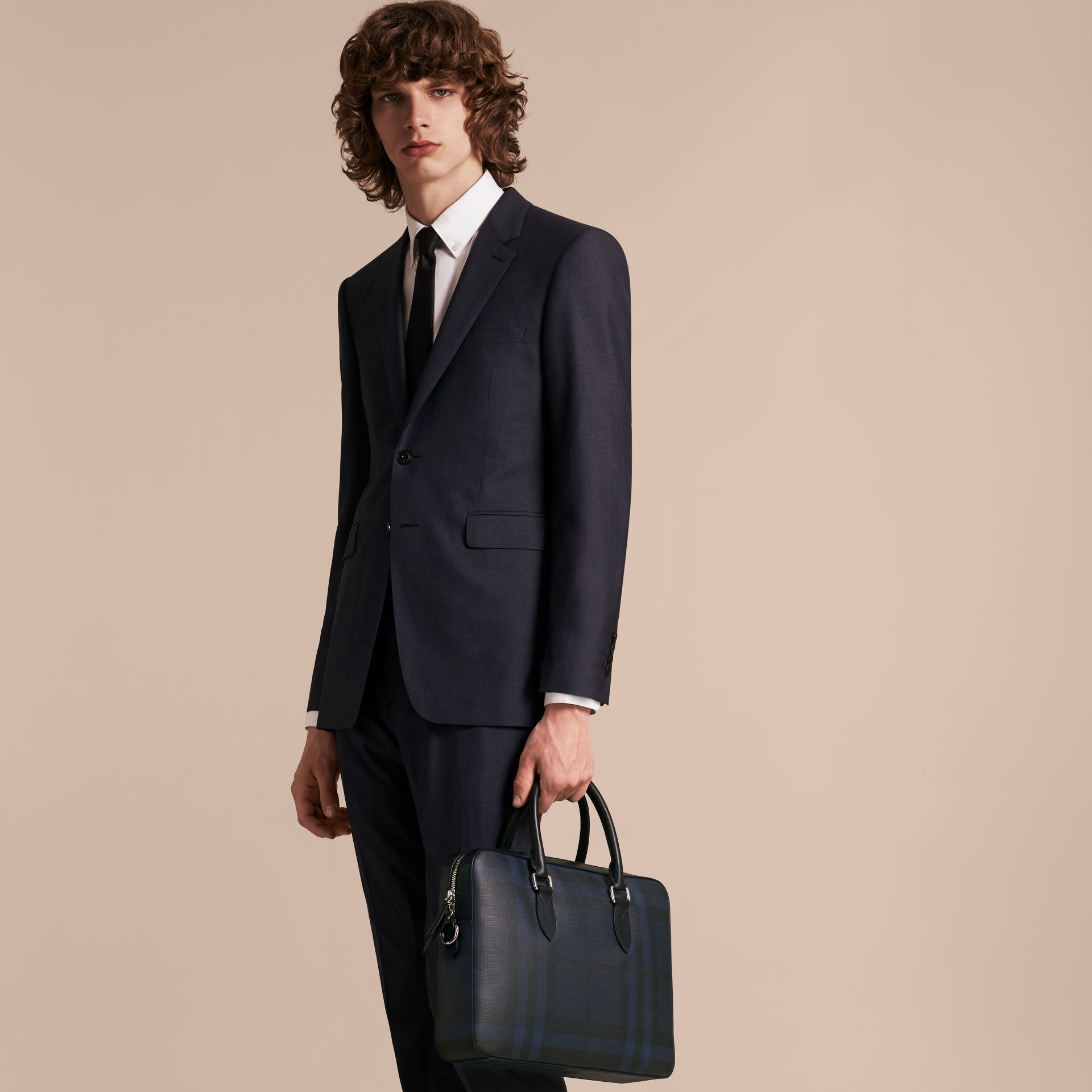 Medium Leather Trim London Check Briefcase Navy/black - gallery image 3