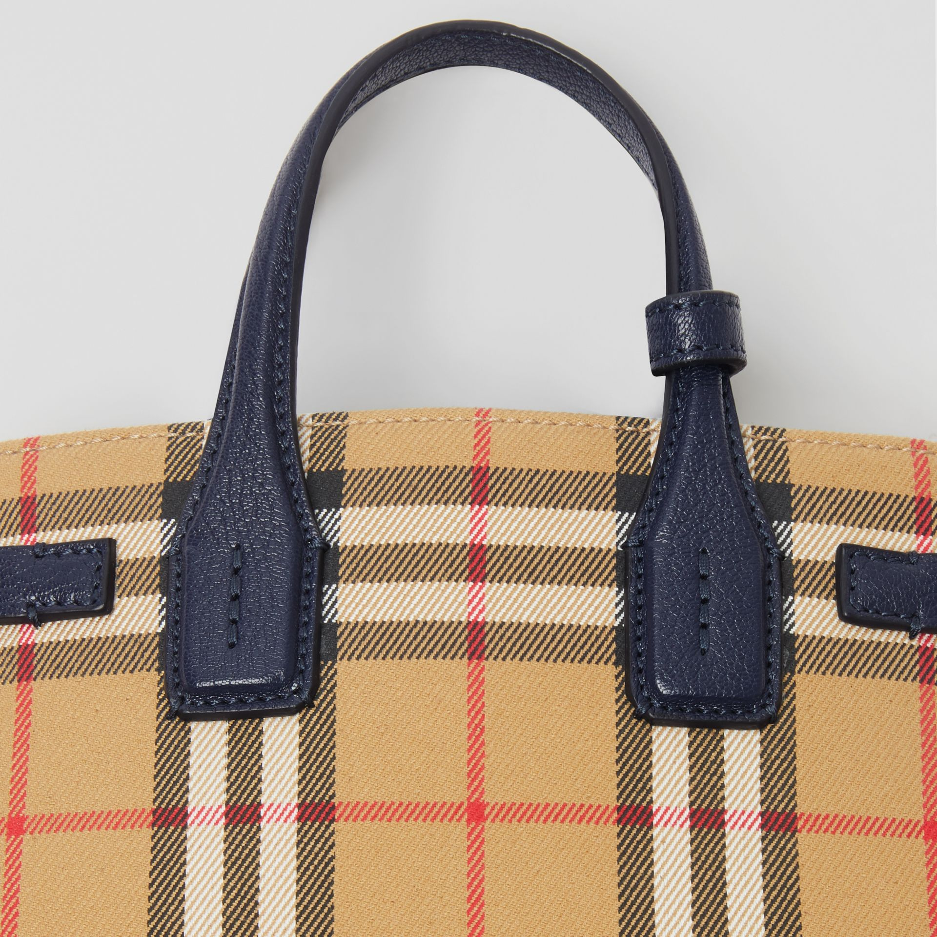 The Baby Banner in Vintage Check and Leather in Regency Blue - Women | Burberry Canada - gallery image 1