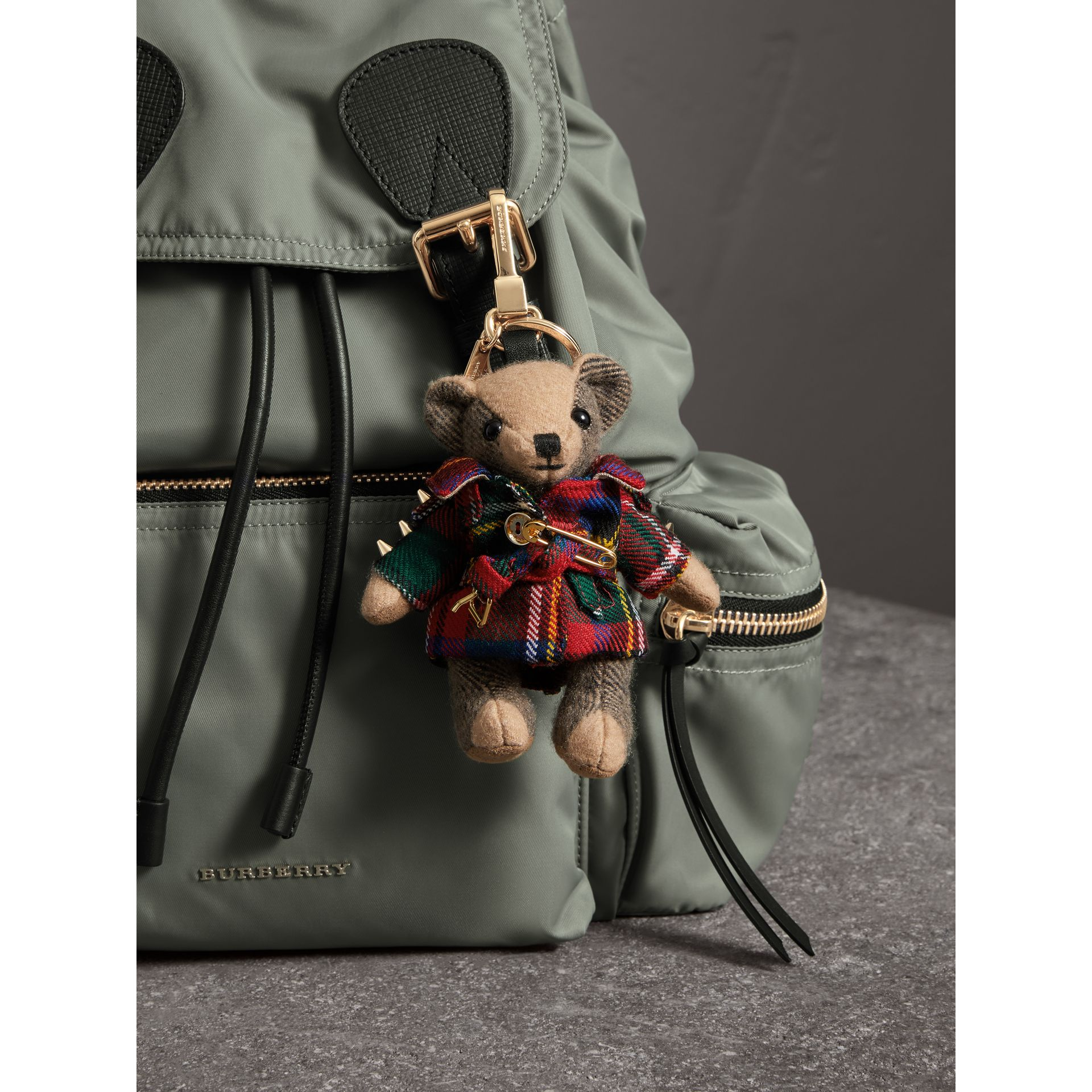 Thomas Bear Charm in Tartan Wool Trench Coat in Parade Red | Burberry United Kingdom - gallery image 3