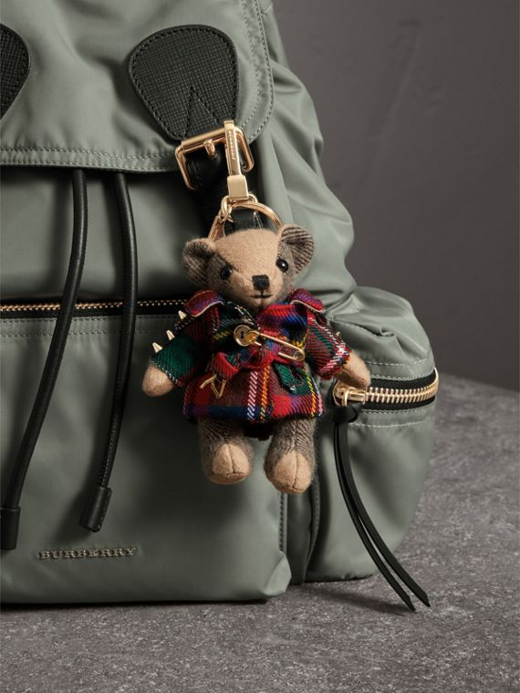 Thomas Bear Charm in Tartan Wool Trench Coat in Parade Red | Burberry - cell image 2