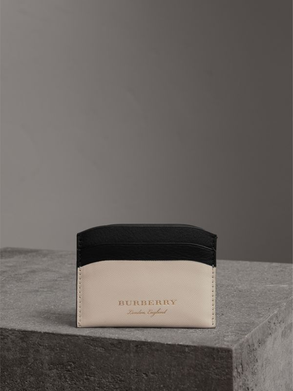 Two-tone Trench Leather Card Case in Limestone/ Black | Burberry - cell image 3