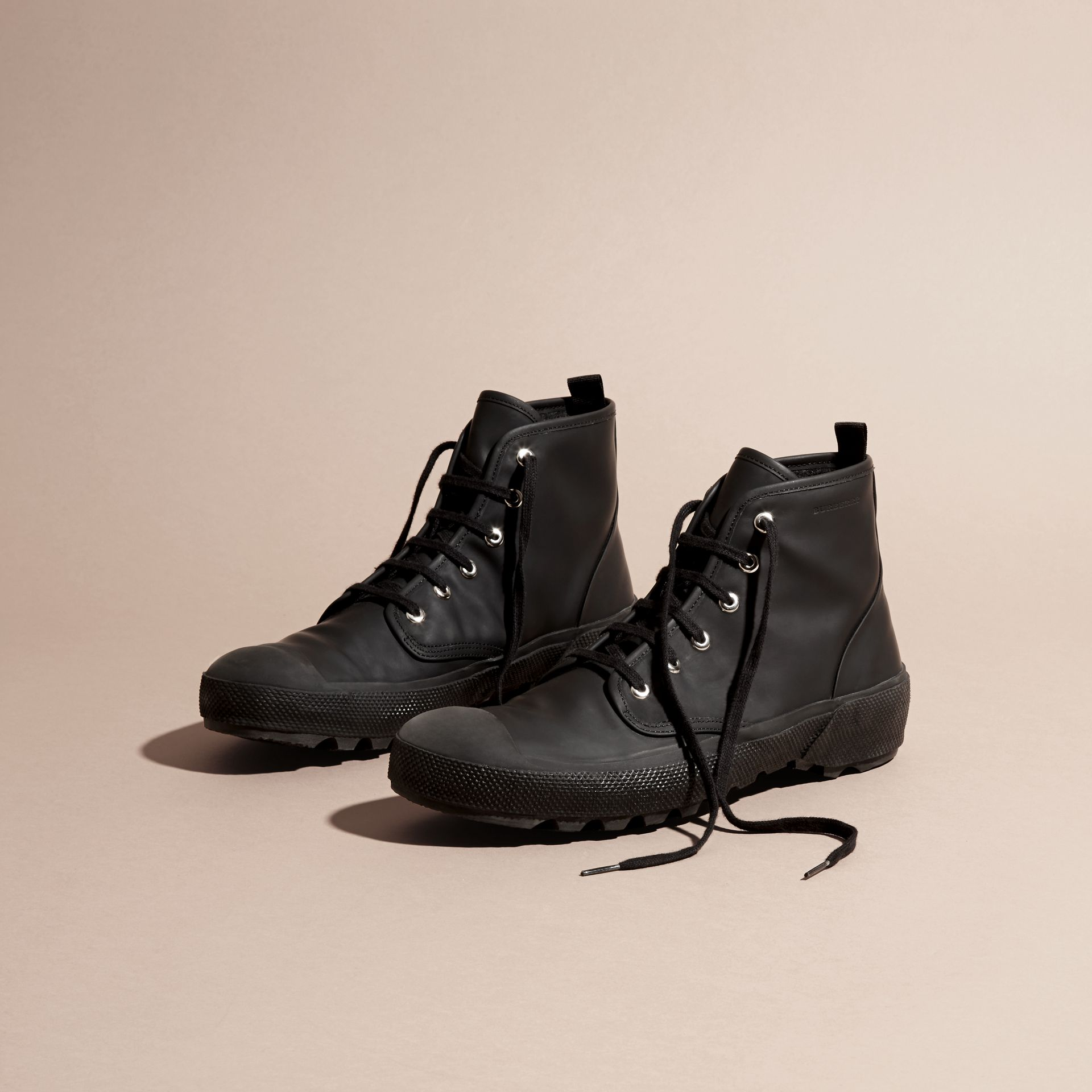 Black Lace-up Rubberised Leather Boots - gallery image 3