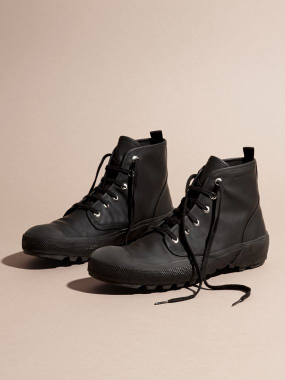 Black Lace-up Rubberised Leather Boots - cell image 2