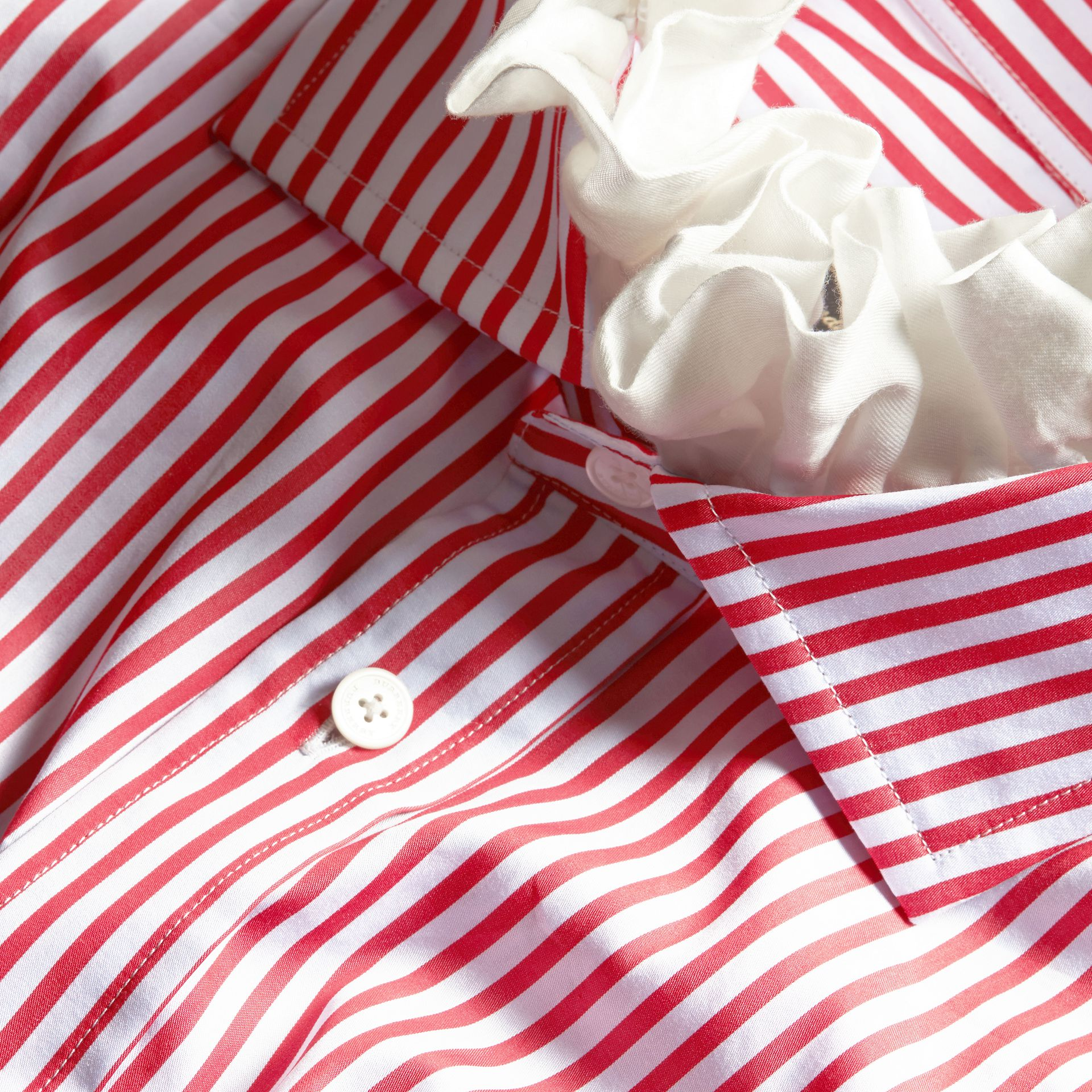 Cardinal red Ruff Collar Striped Cotton Shirt - gallery image 2
